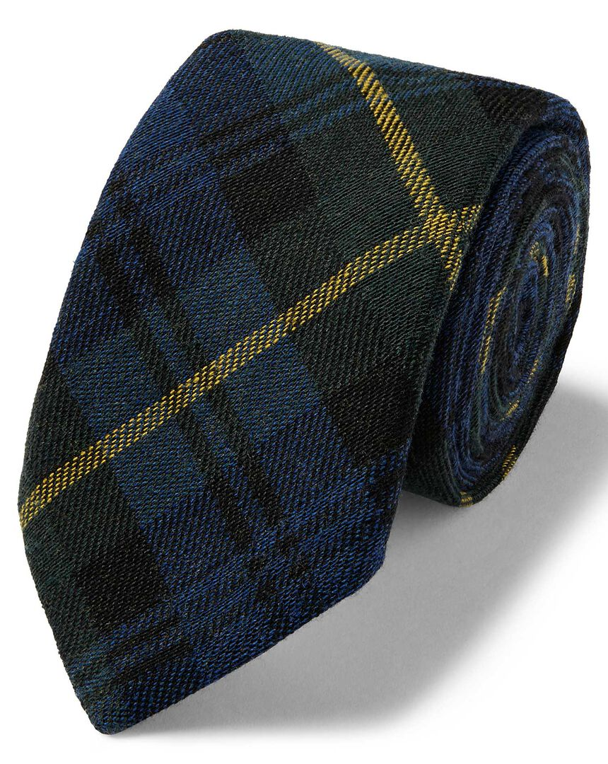 Navy and green tartan check wool silk luxury Italian tie