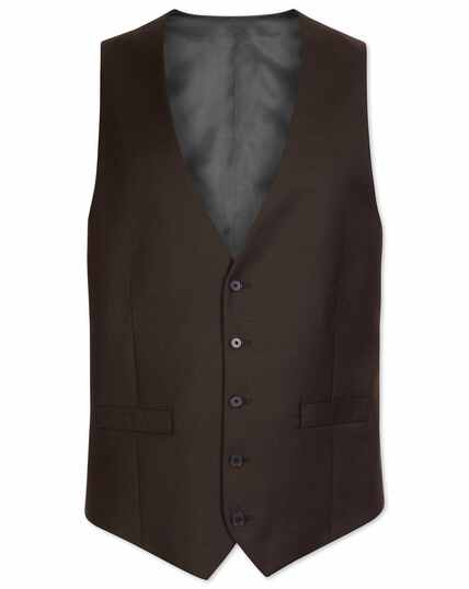 Brown adjustable fit twill business suit vest