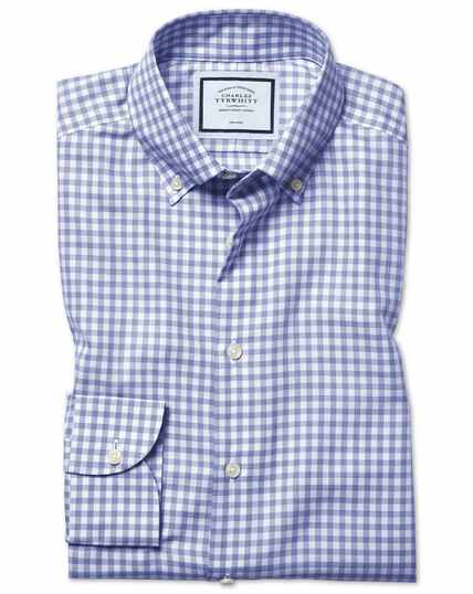 Slim  fit business casual non-iron royal blue check shirt with TENCEL™