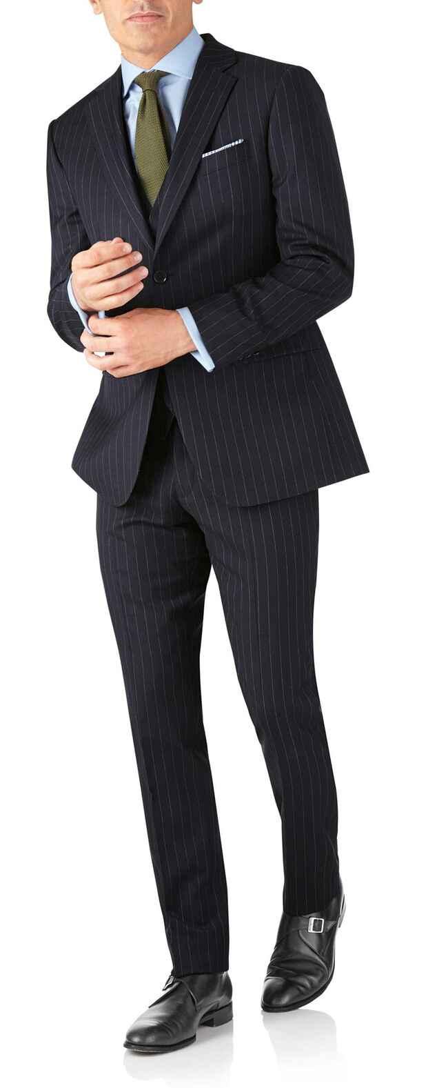 Costume business bleu marine en twill slim fit à rayures