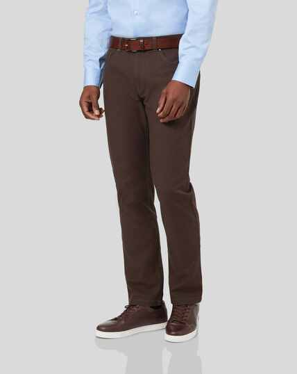 Diamond Dobby 5-Pocket Trousers - Chocolate