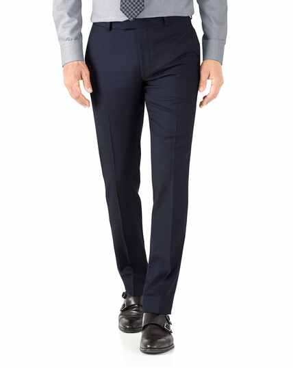 Navy herringbone slim fit Italian suit pants