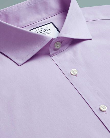 Slim fit non-iron cutaway poplin lilac shirt