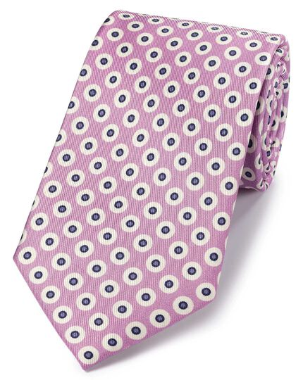 Lilac silk printed geometric classic tie