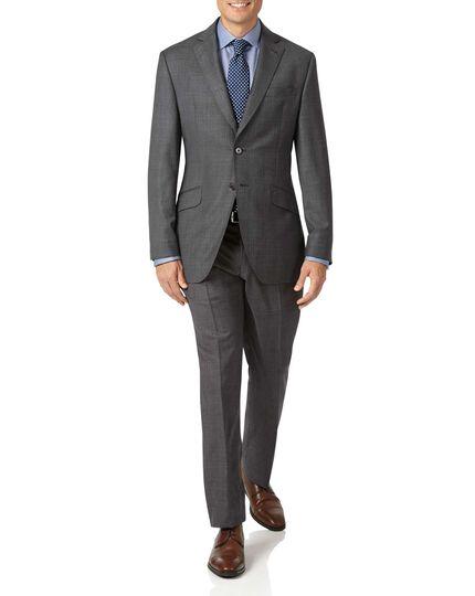 Grey slim fit luxury Italian check suit jacket