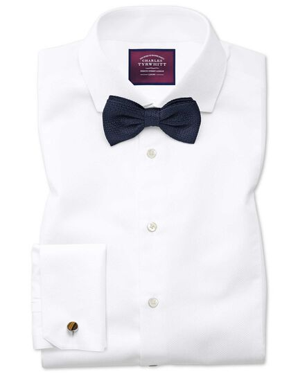 Extra slim fit cutaway non-iron luxury marcella bib front white shirt
