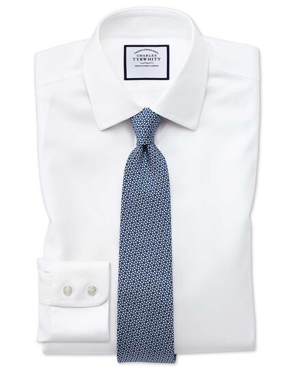 Chemise blanche en tissage échelle extra slim fit sans repassage