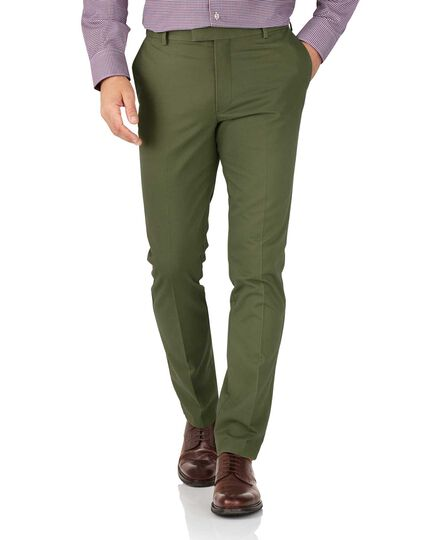 Green extra slim fit flat front non-iron chinos