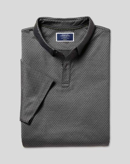 Jacquard-Polo aus Baumwolle mit Diamantmuster - Anthrazit