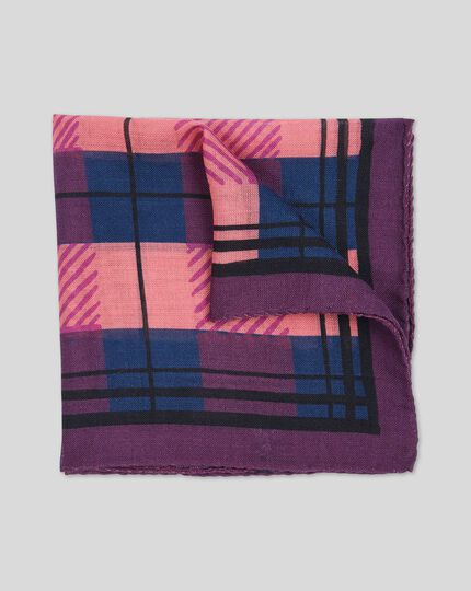 Check Wool Silk Luxury Pocket Square - Berry
