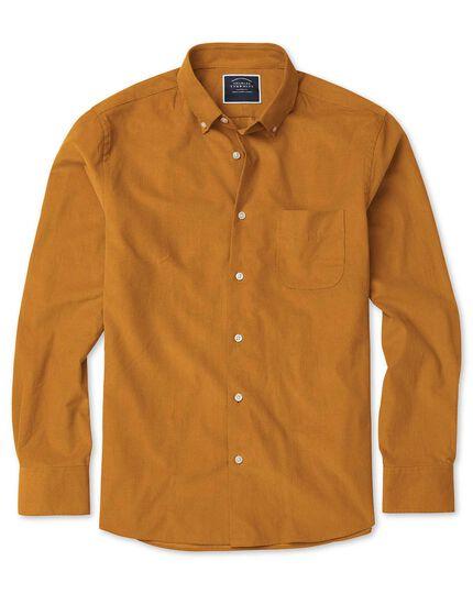 Slim fit button-down fine corduroy dark yellow shirt