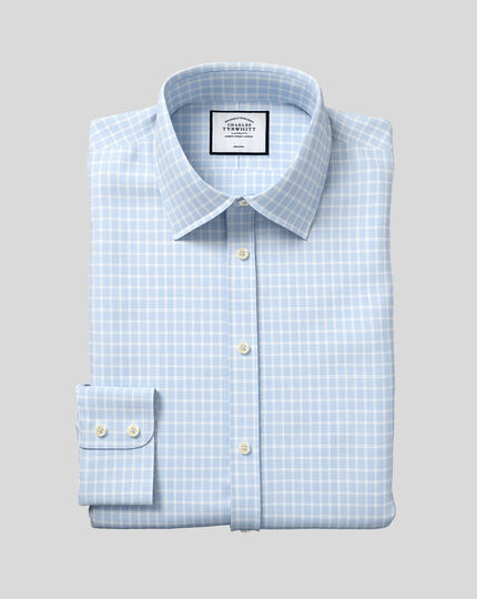 Classic Collar Non-Iron Poplin Check Shirt - Sky