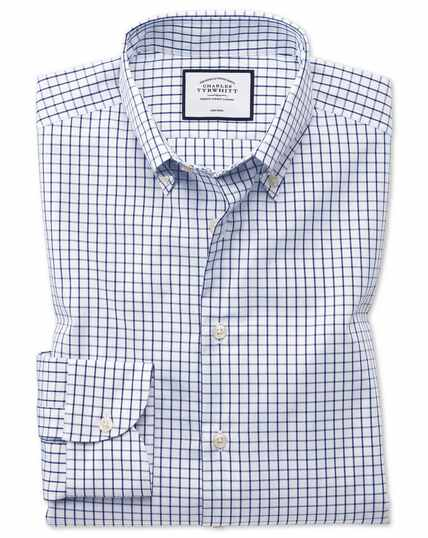 Classic fit business casual non-iron button-down navy shirt