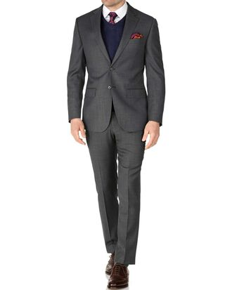 Slim Fit Reiseanzug aus Sharkskin in Grau
