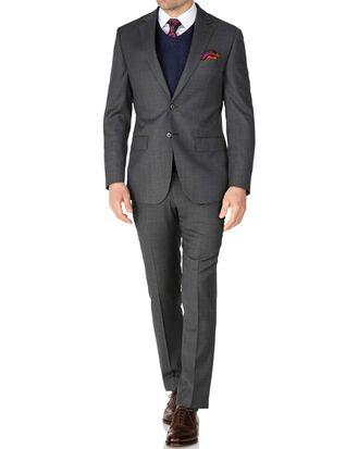 Grey slim fit sharkskin travel suit
