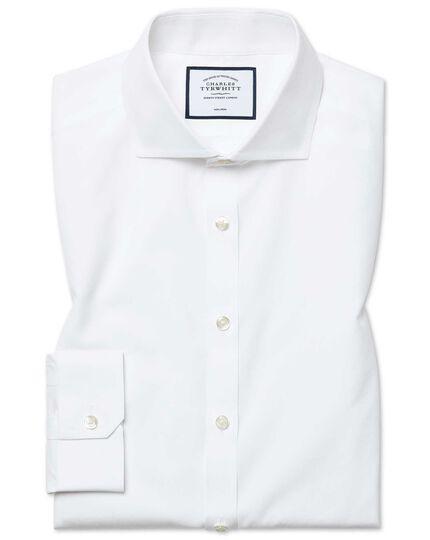 Super slim fit white non-iron poplin shirt