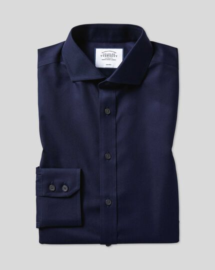 Spread Collar Non-Iron Twill Shirt - Navy