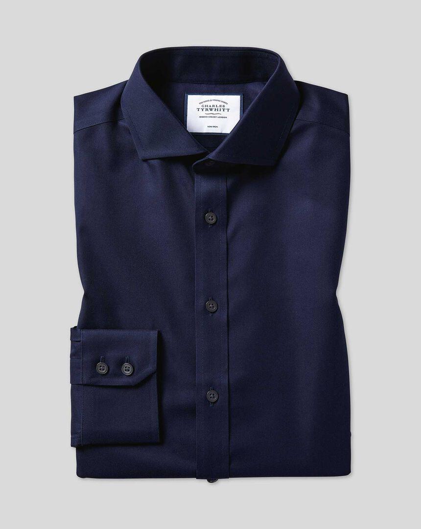 'Bügelfreies Twill Hemd mit Haifischkragen – Marineblau