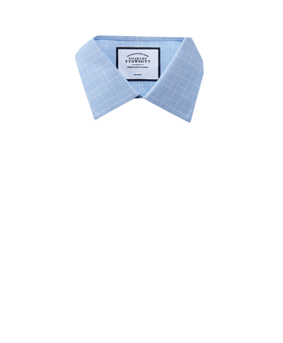 Extra slim fit non-iron sky blue Prince of Wales check shirt