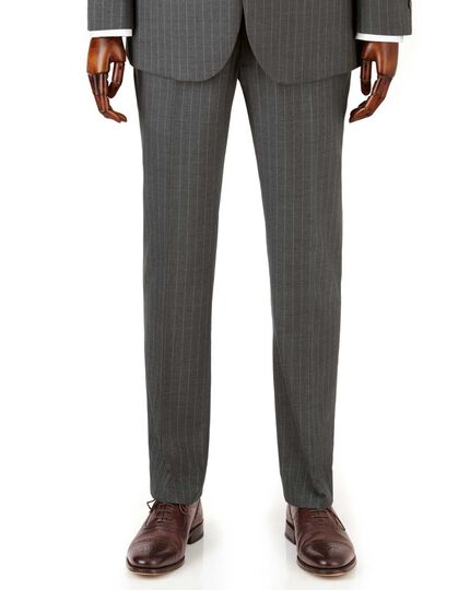 Grey stripe slim fit twill business suit trousers