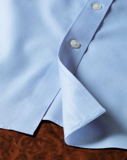 Classic fit button-down non-iron twill sky blue shirt