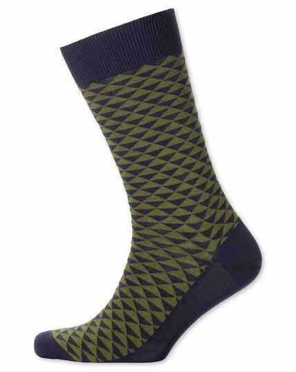 Socken in Khaki mit Triangelmuster
