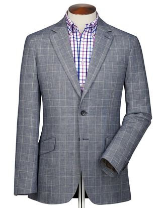 Classic fit blue Prince of Wales check linen mix jacket