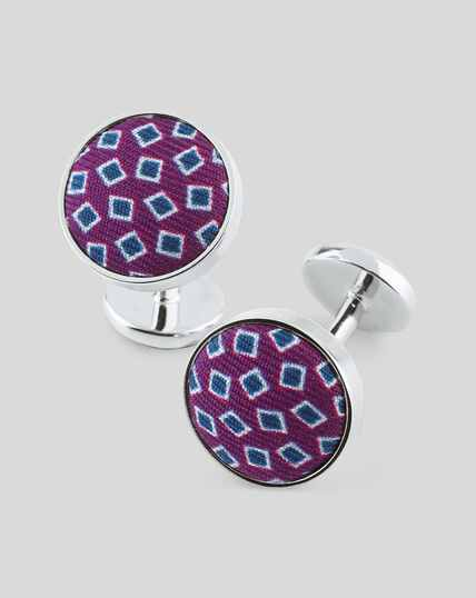 Printed Silk Insert Cufflink - Purple & Blue