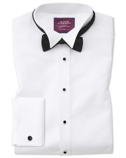Slim fit wing collar luxury marcella bib front white tuxedo shirt