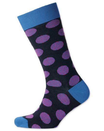Navy stripe spot socks