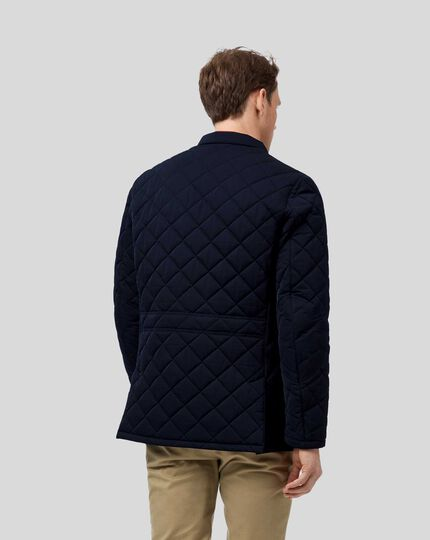 Showerproof Quilted Sports Jacket - Navy