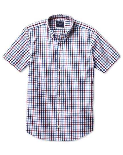 Slim fit button-down non-iron poplin short sleeve red multi check shirt