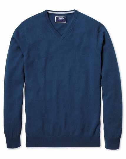 Blue v-neck cashmere jumper
