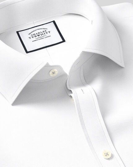 Classic Collar Egyptian Cotton Lattice Weave Shirt - White