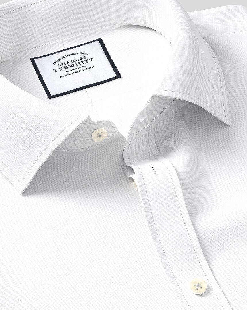 Egyptian Cotton Lattice Weave Shirt - White