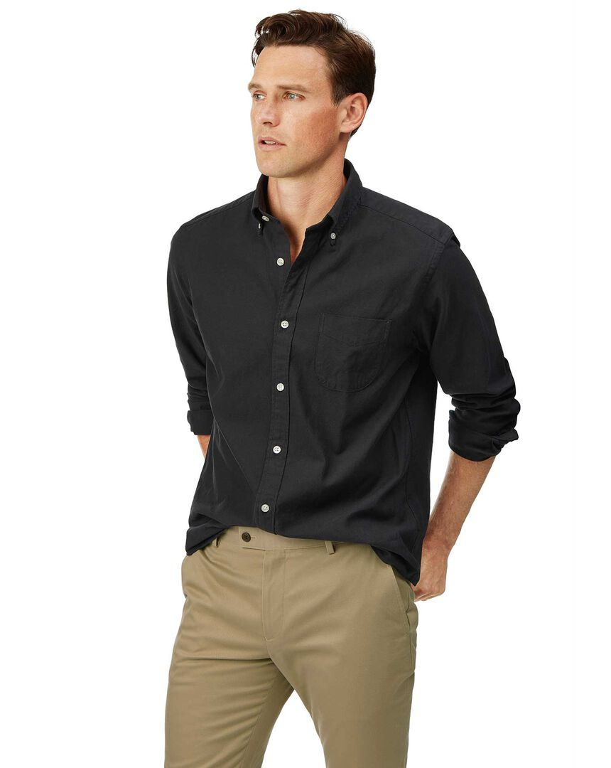 Classic fit charcoal button-down washed Oxford plain shirt