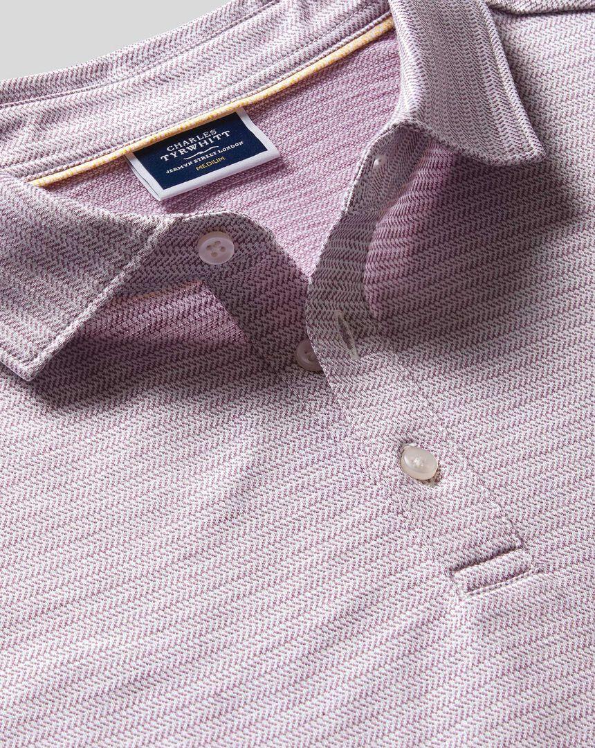 Herringbone Cotton Linen Polo - Lilac