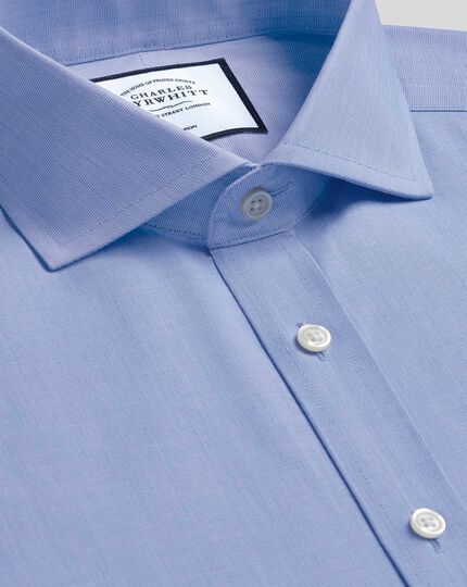 Spread Collar Non-Iron 4 Way Stretch Shirt - Blue