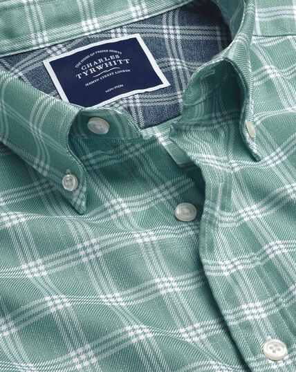 Button-Down Collar Non-Iron Twill Check Shirt - Aqua & White