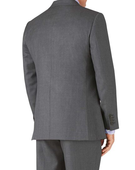 Mid grey classic fit twill business suit jacket