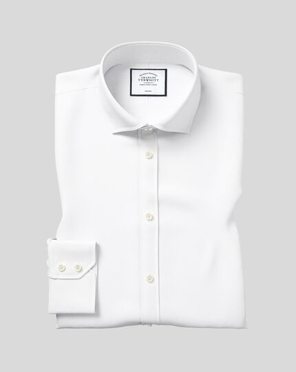Spread Collar Non-Iron Poplin Shirt  - White