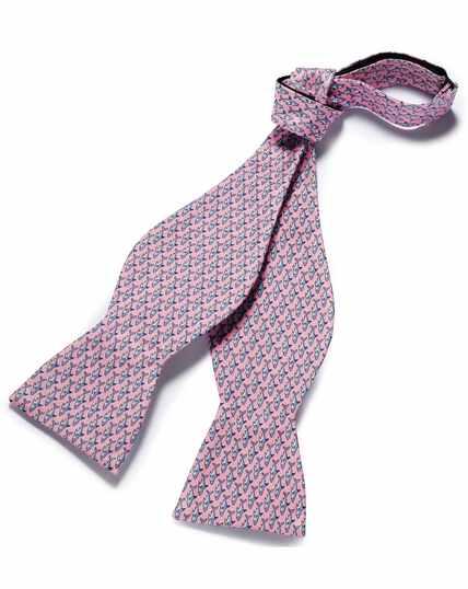 Pink shark print self-tie bow tie