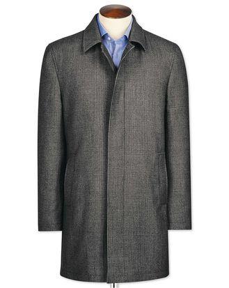 Car coat gris en laine à carreaux