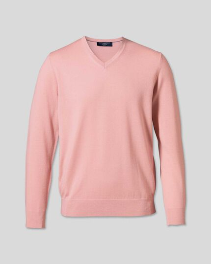 Merino V-Neck Jumper - Light Pink