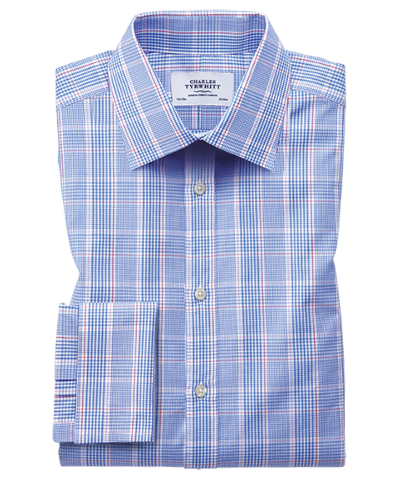 Classic fit Prince of Wales check blue shirt