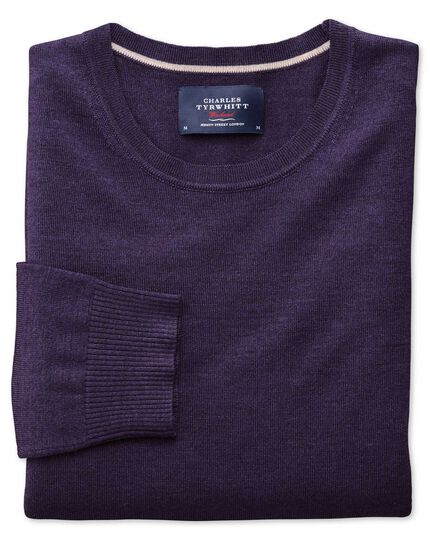 Purple merino wool crew neck sweater