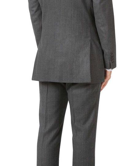 Charcoal slim fit tan stripe British luxury suit jacket
