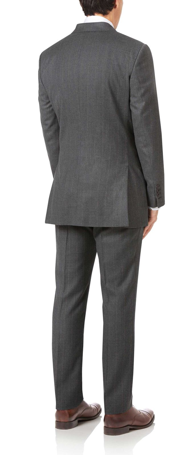 Charcoal slim fit British serge tan stripe luxury suit