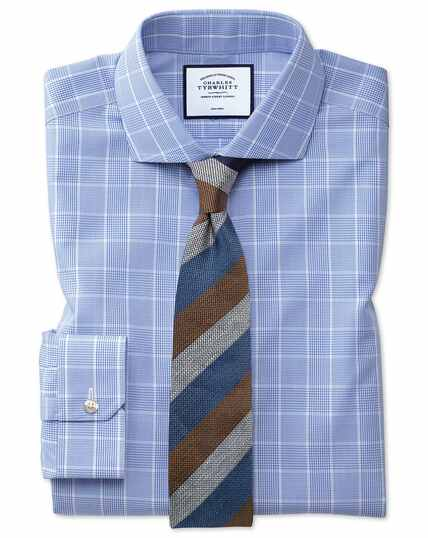Super slim fit spread collar non-iron Prince of Wales mid blue shirt