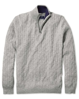 Light grey zip neck lambswool cable knit jumper